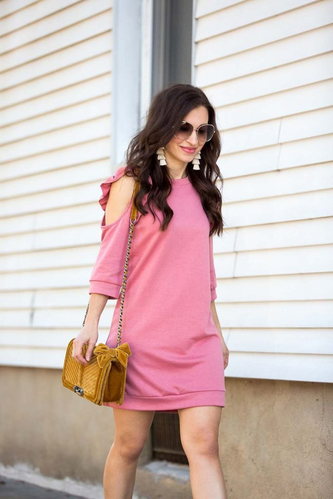 Pink Cold Shoulder Ruffle Sweatshirt Dress