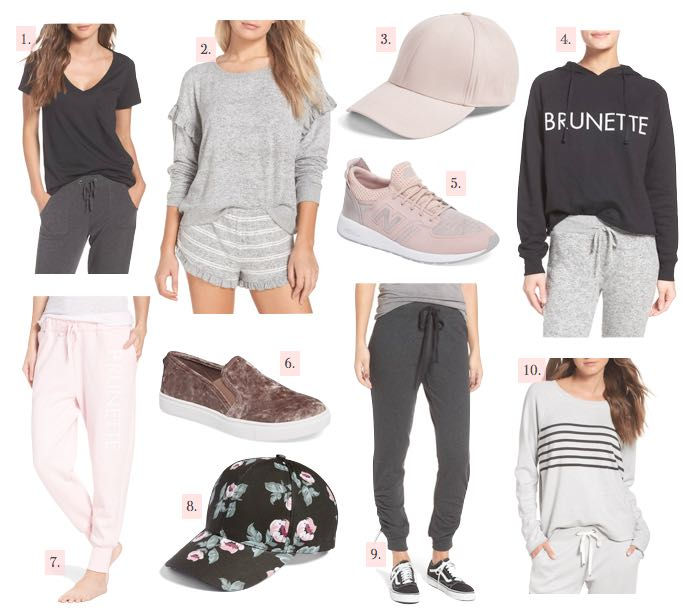 casual fall wishlist joggers sweatshirt sneakers velvet slip ons ball cap ruffle sweater