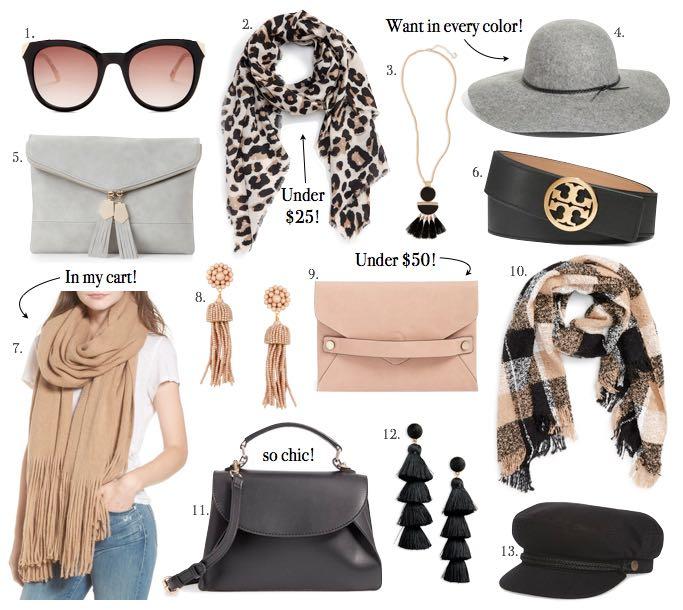 best neutral fall accessories leopard scarf black belt tassel earrings fall hats neutral clutches