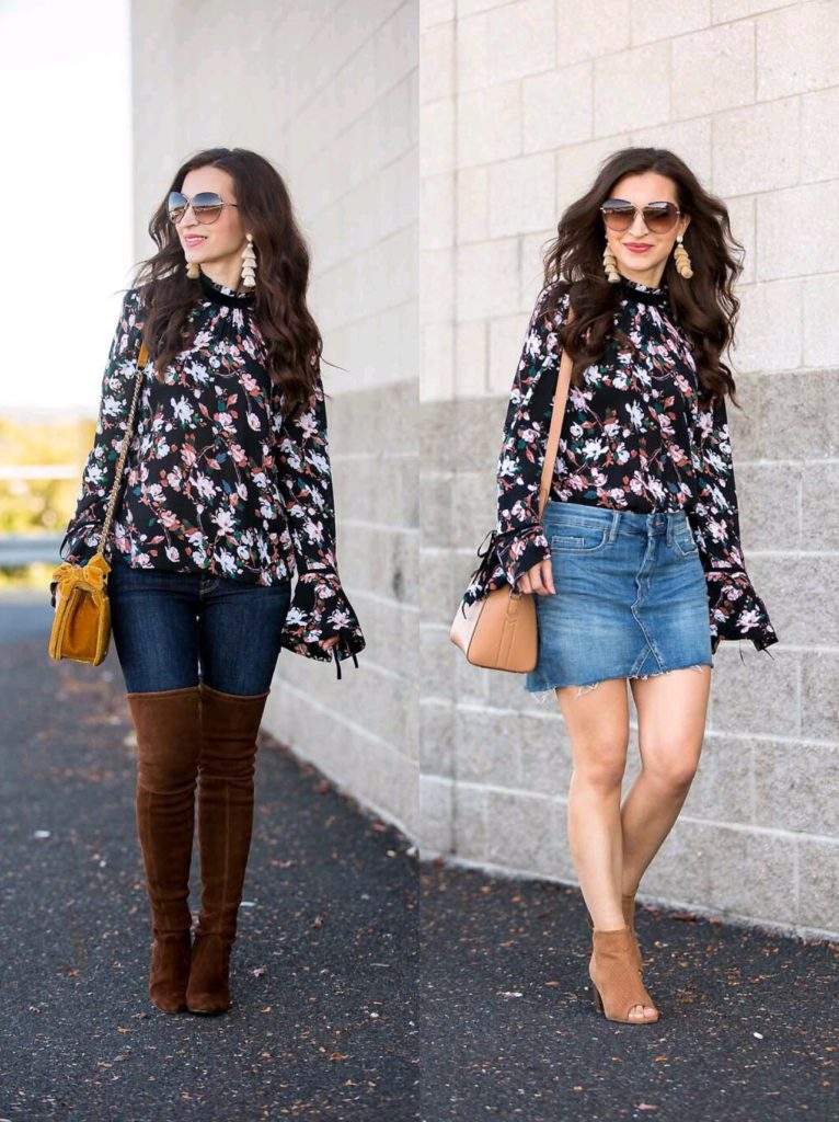 Bell Sleeve Floral Top worn two ways