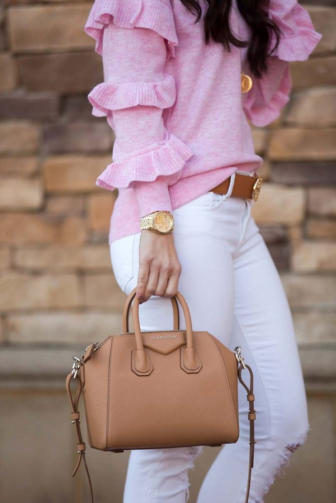 pink ruffle sweater Givenchy mini Antigona