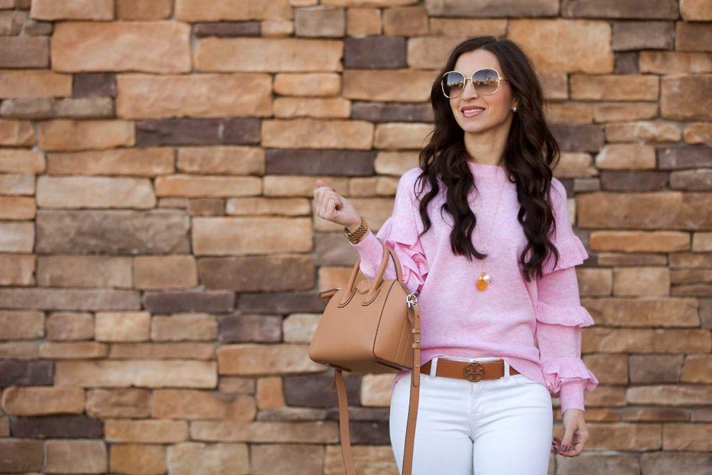 pink ruffle sweater Tory Burch belt Givenchy mini Antigona