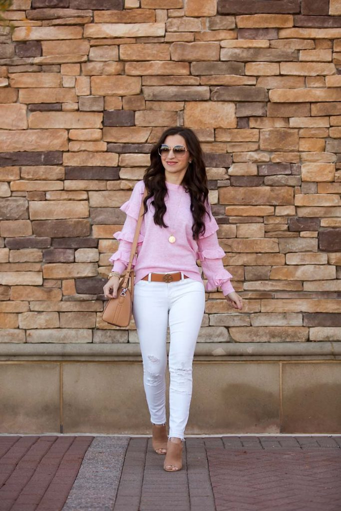 Pink Ruffle Sweater white jeans Tory Burch belt Givenchy Antigona booties
