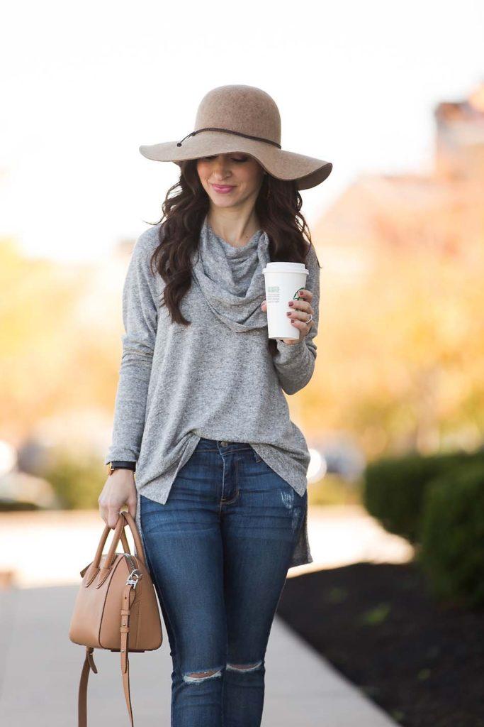 Grey Cowl Neck Tunic Givenchy Antigona Wool Hat