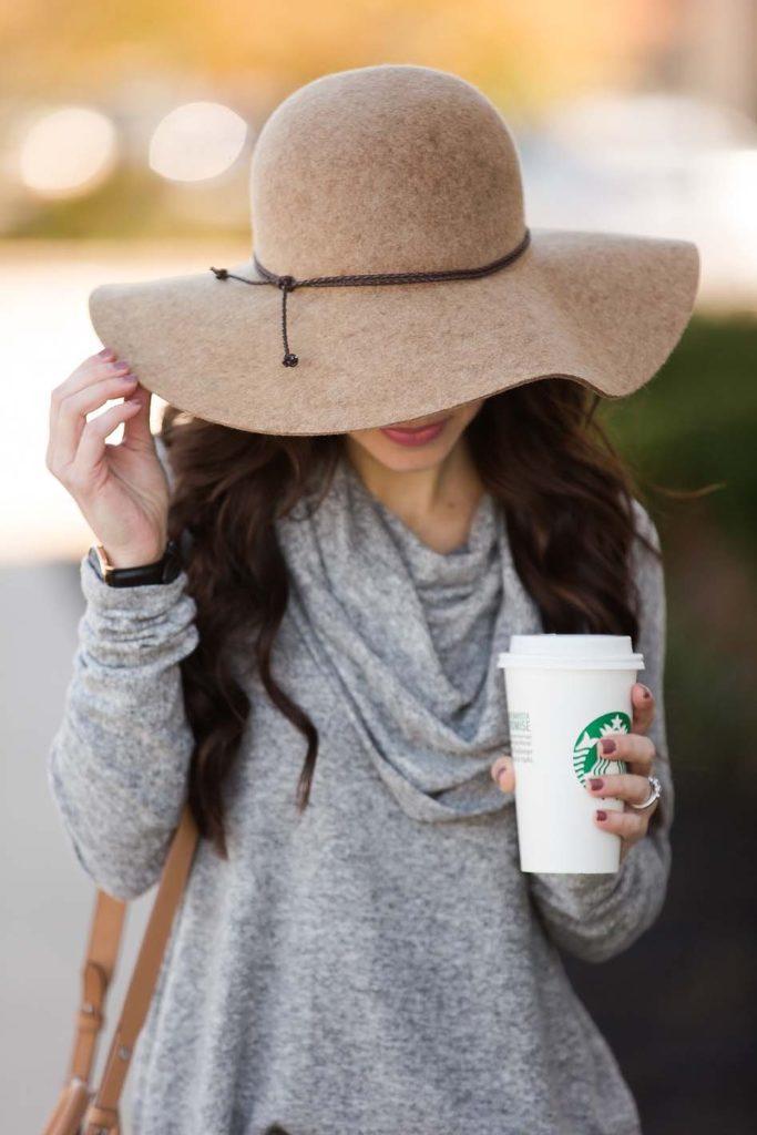 Grey Cowl Neck Tunic Tan Wool Hat
