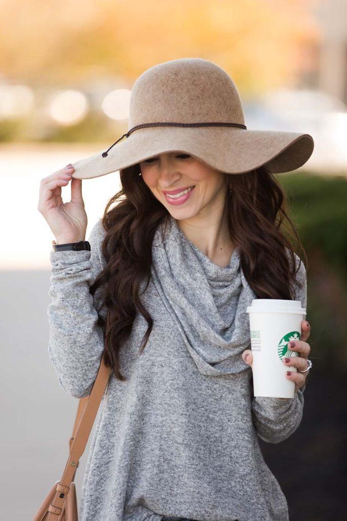 grey cowl neck tunic wool hat