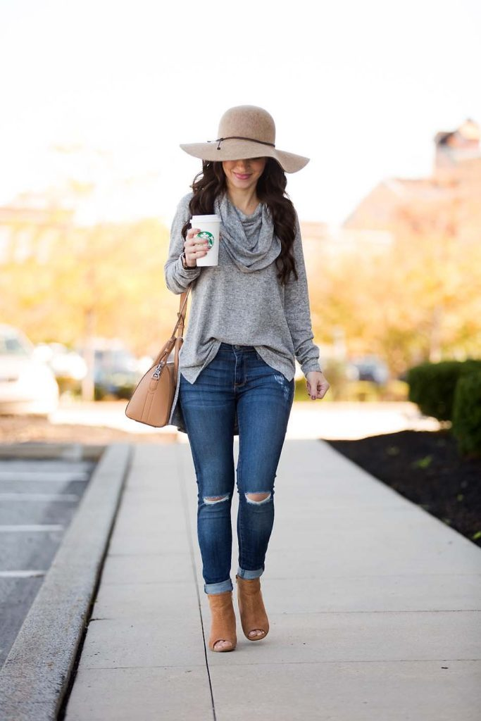 grey cowl neck tunic skinny jeans booties wool hat