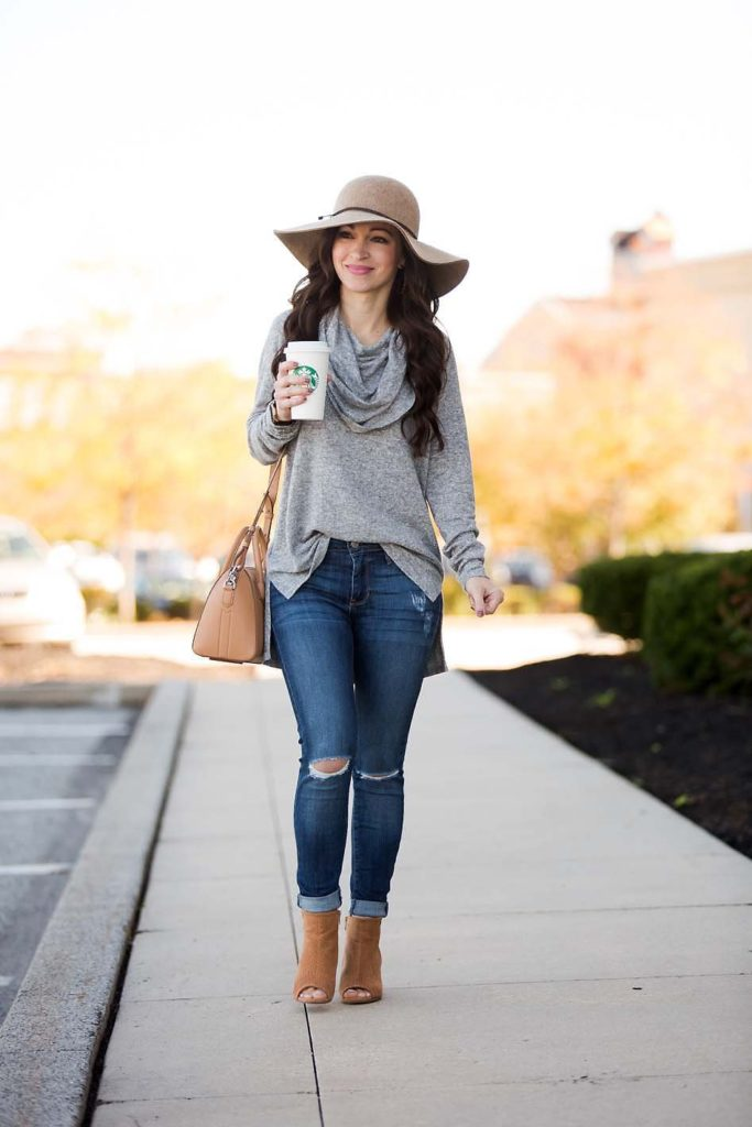 Grey Cowl Neck Tunic distressed jeans wool hat booties
