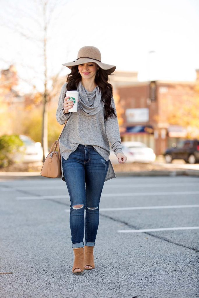 Grey Cowl Neck Tunic Wool Hat distressed jeans booties
