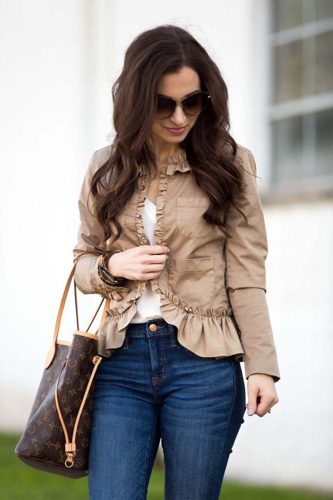 khaki ruffle jacket Louis Vuitton Neverfull