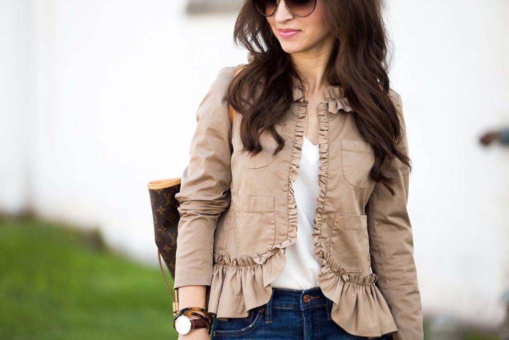khaki ruffle jacket