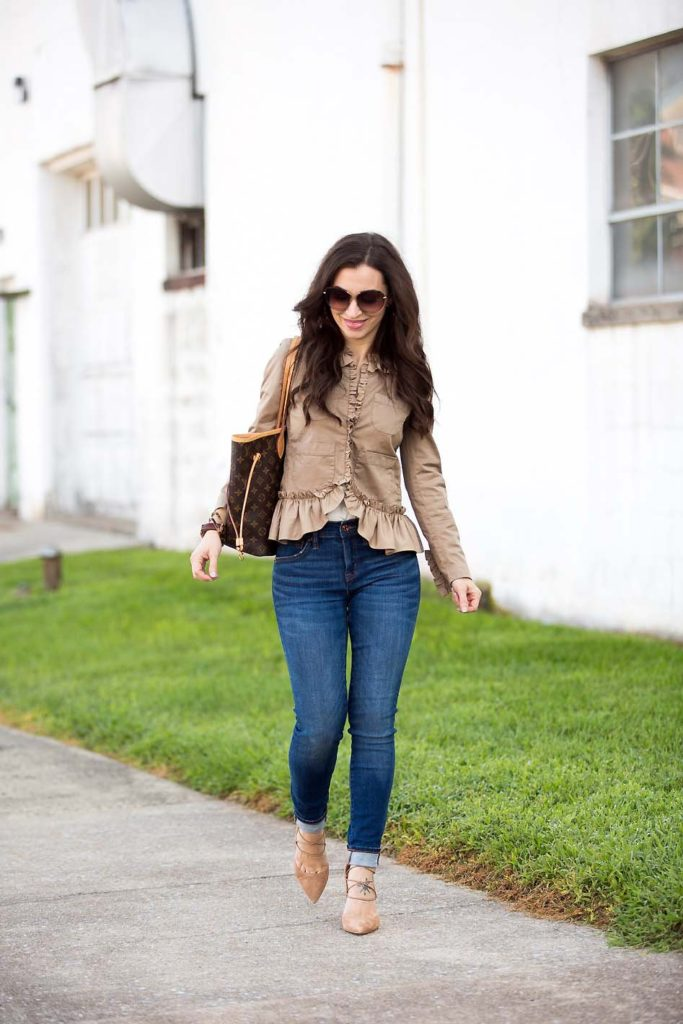 khaki ruffle jacket skinny jeans lace up heels
