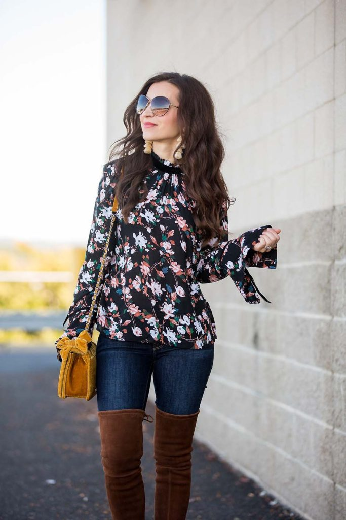 Bell Sleeve Floral Top suede over the knee boots