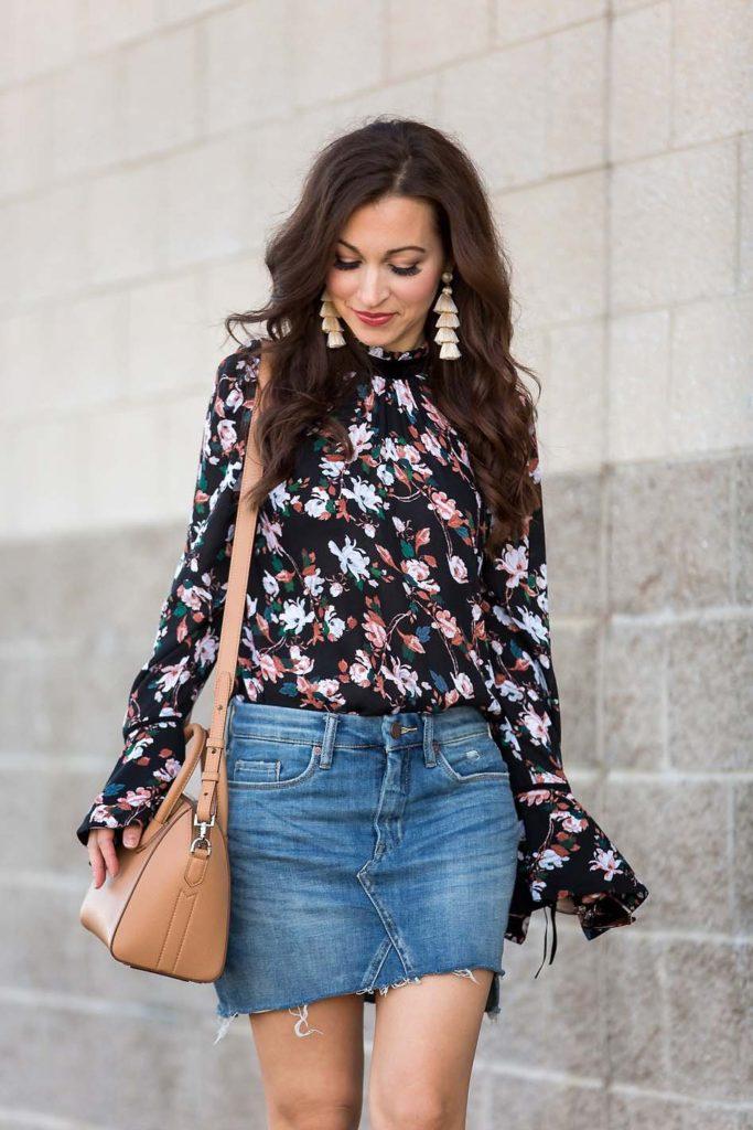 Bell Sleeve Floral Top denim skirt Givenchy Antigona
