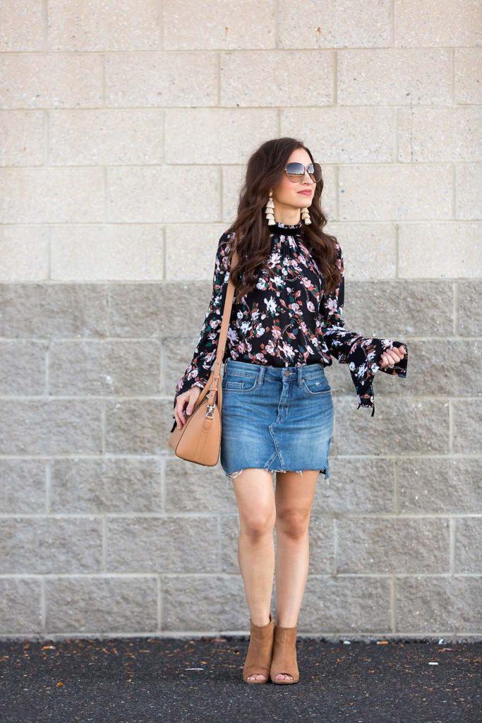 Bell Sleeve Floral Top denim skirt tan booties