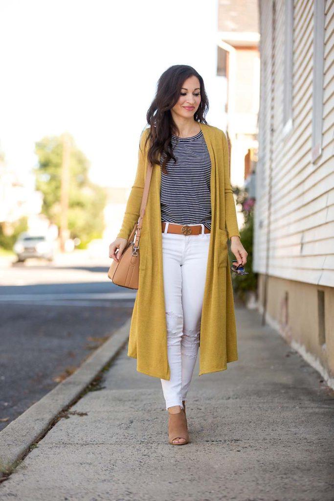 LulaRoe Sarah Cardigan white jeans striped tee Givenchy bag Tory Burch belt