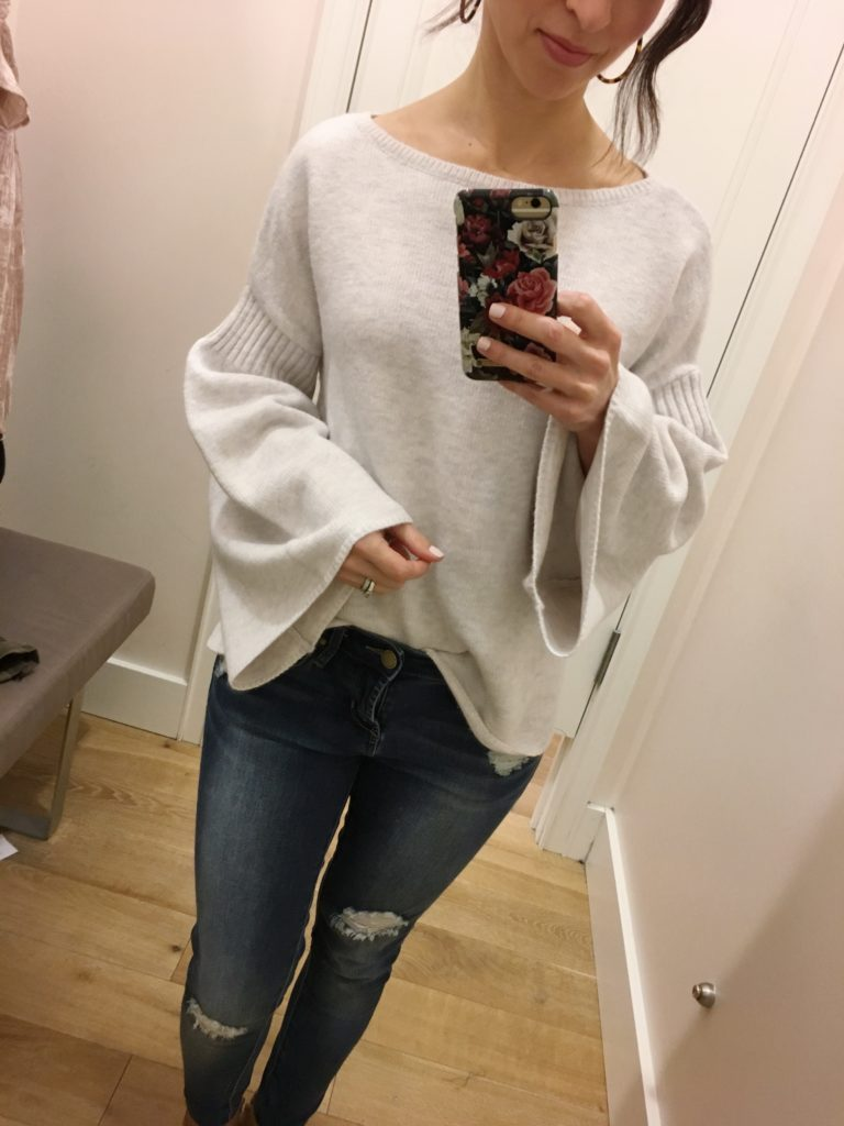 fall tops I'm loving bell sleeve grey sweater