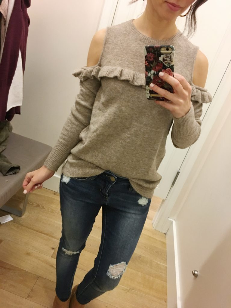 fall tops I'm loving cold shoulder ruffle sweater