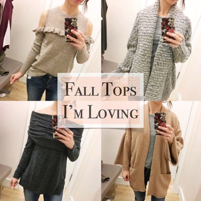 fall tops I'm loving ruffle sweater cold shoulder sweater cardigan off the shoulder sweater