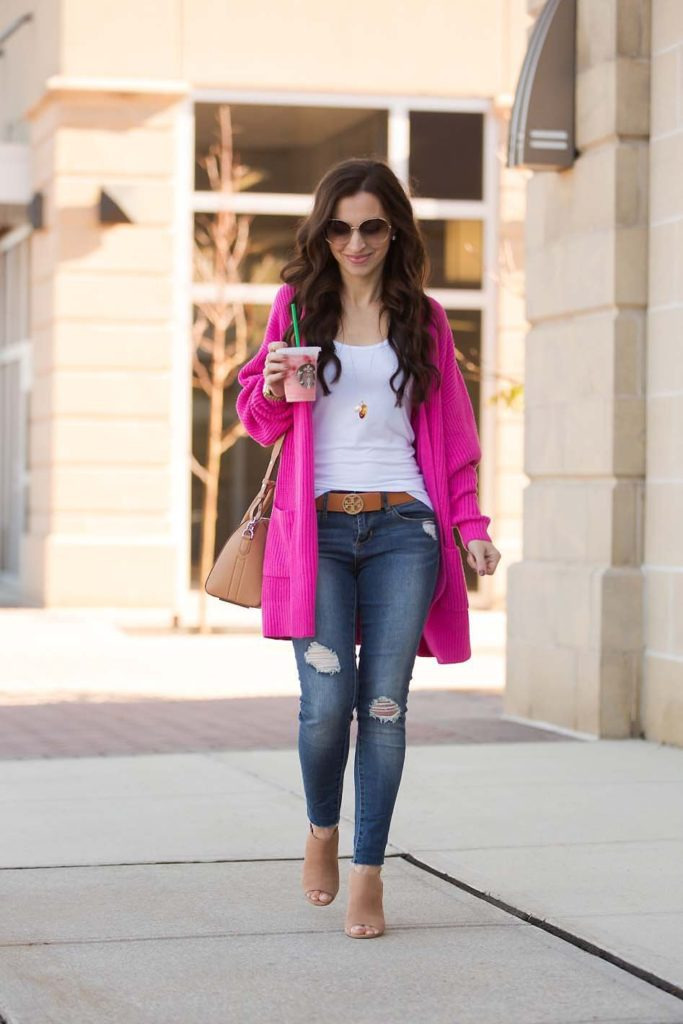 hot pink cardigan ripped skinny jeans booties Givenchy Antigona
