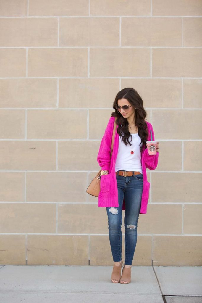 hot pink cardigan tan booties Nordstrom skinny jeans white tank