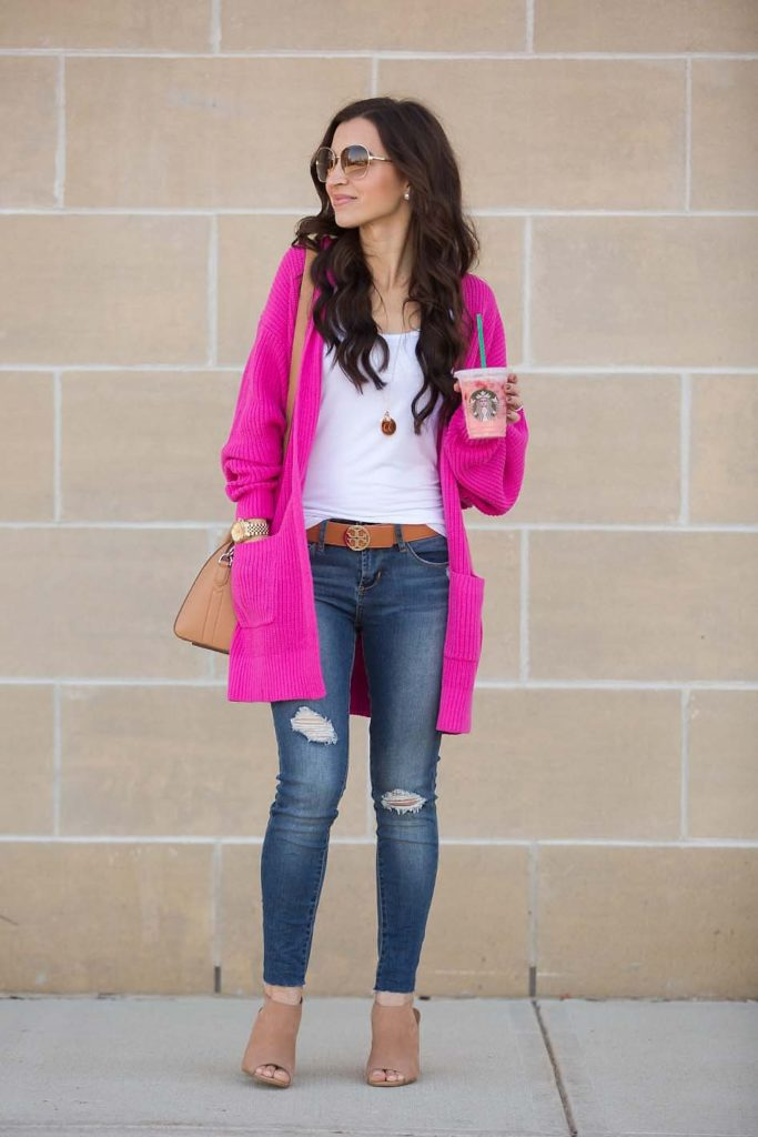 hot pink cardigan
