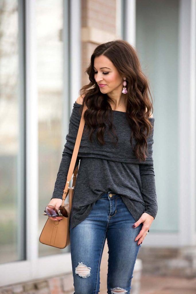 grey off shoulder top skinny jeans Givenchy Antigona