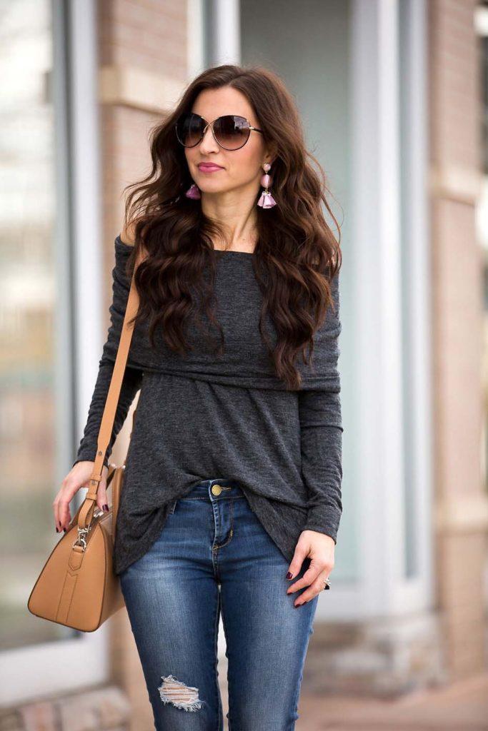 grey off shoulder top skinny jeans Givenchy Antigona Tom Ford sunglasses