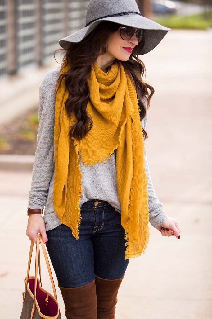 mustard scarf Stuart Weitzman Over the knee boots grey wool hat grey sweater