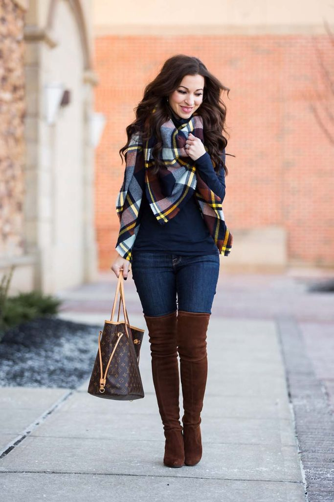 plaid blanket scarf navy turtleneck over the knee boots