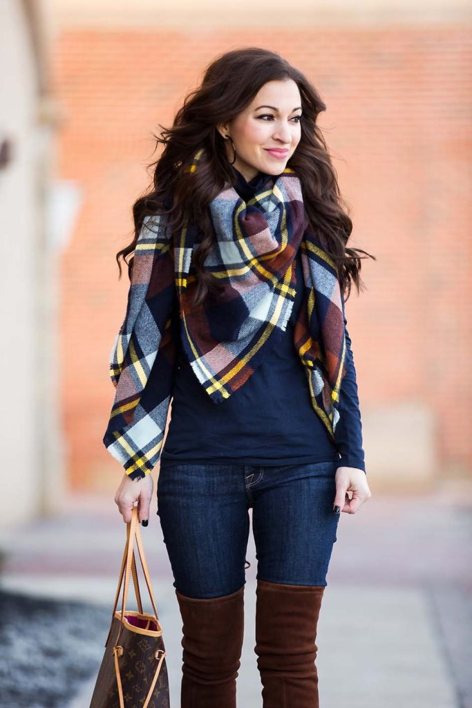 plaid blanket scarf navy turtleneck suede over the knee boots
