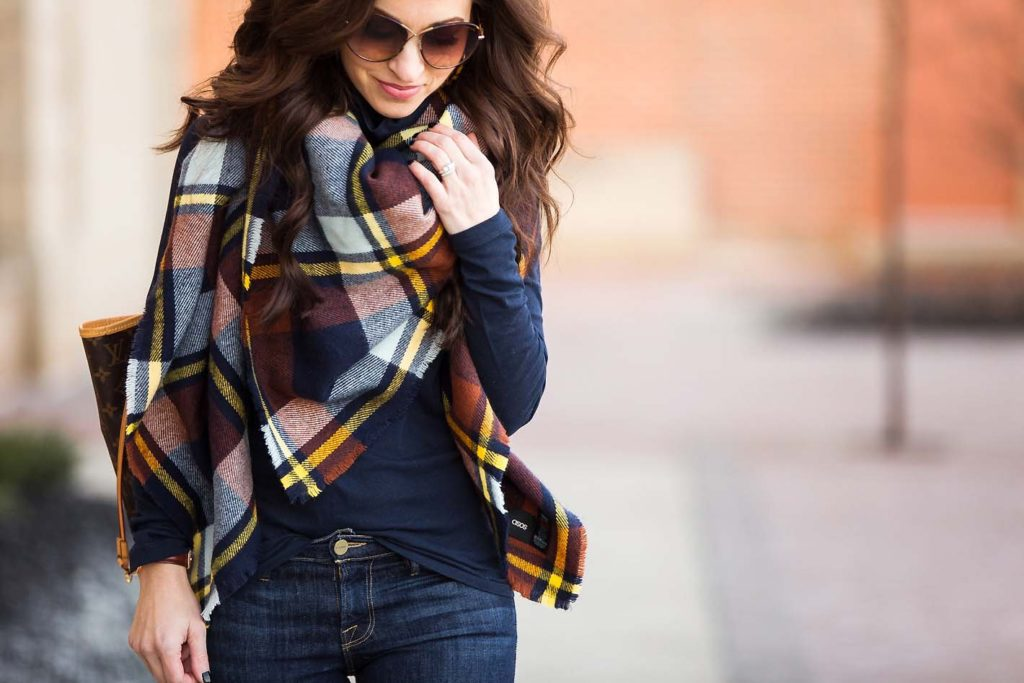 plaid blanket scarf navy yellow