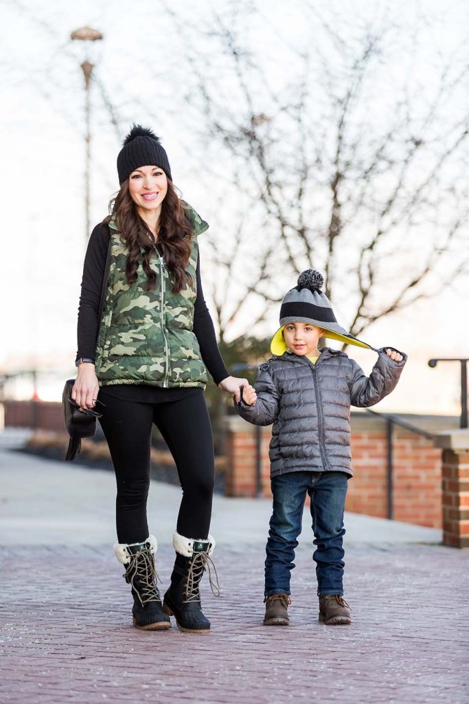 mother son winter style leggings camo puffer vest striped hat