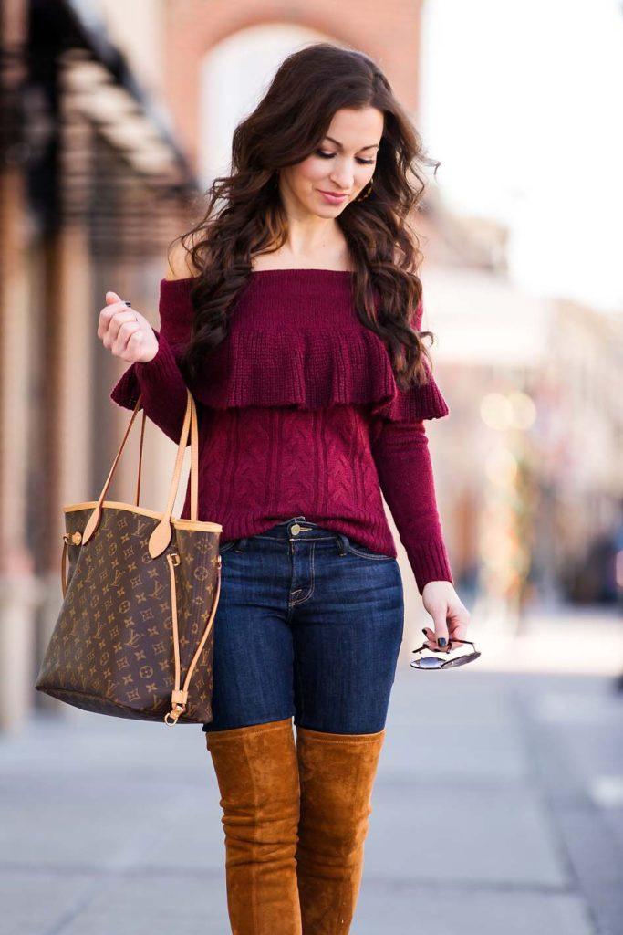 Burgundy Off Shoulder Sweater