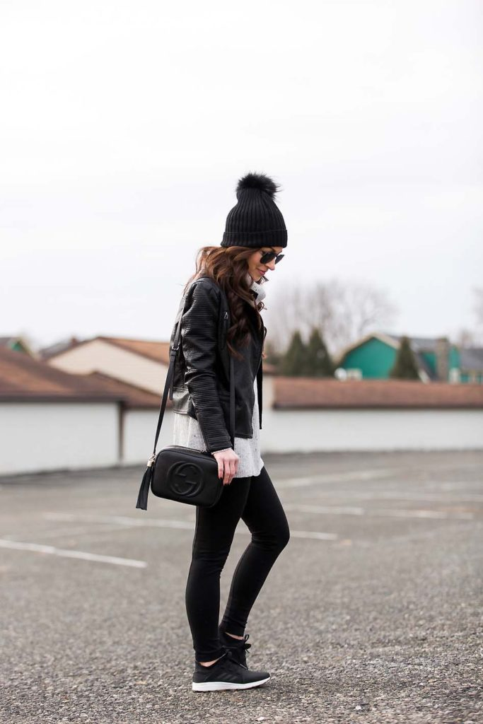 athleisure how to leggings grey sweater Gucci Disco pom beanie