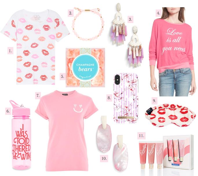 Valentine's Day picks Kendra Scott earrings pink tee lip print
