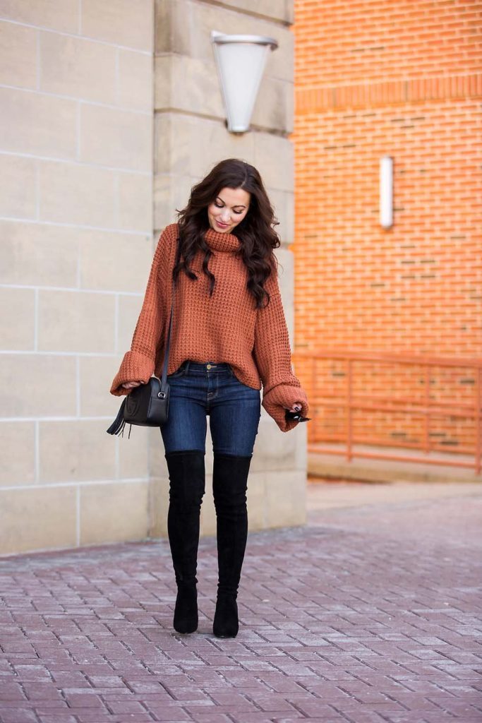 chunky turtleneck sweater black over the knee boots
