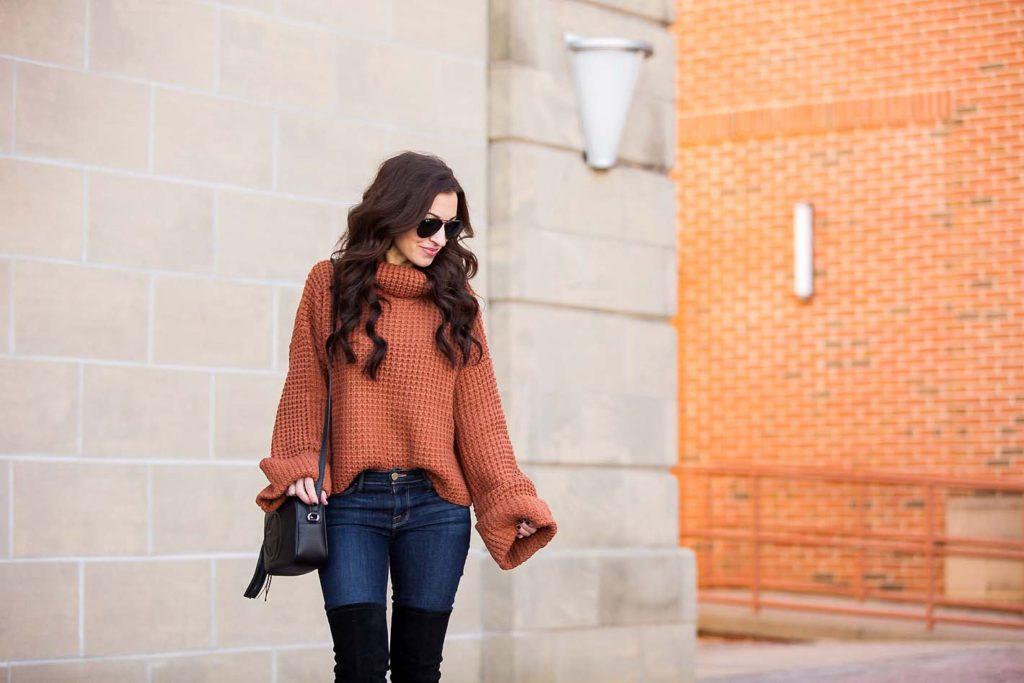 chunky turtleneck sweater cognac burnt orange