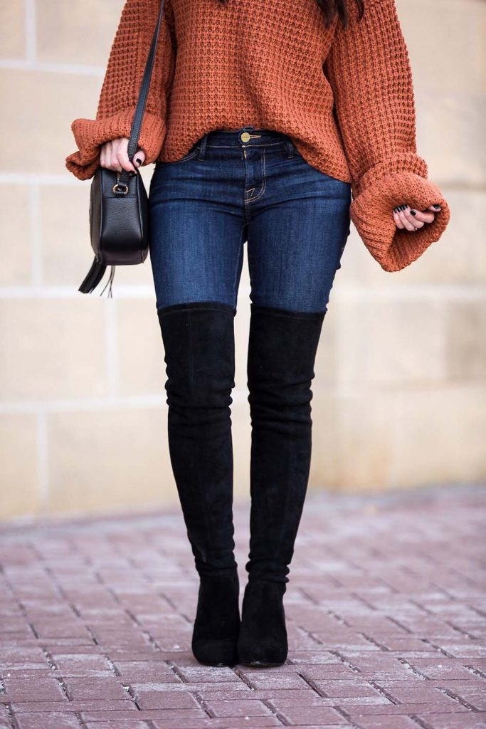 chunky turtleneck sweater Goodnight Macaroon over the knee boots