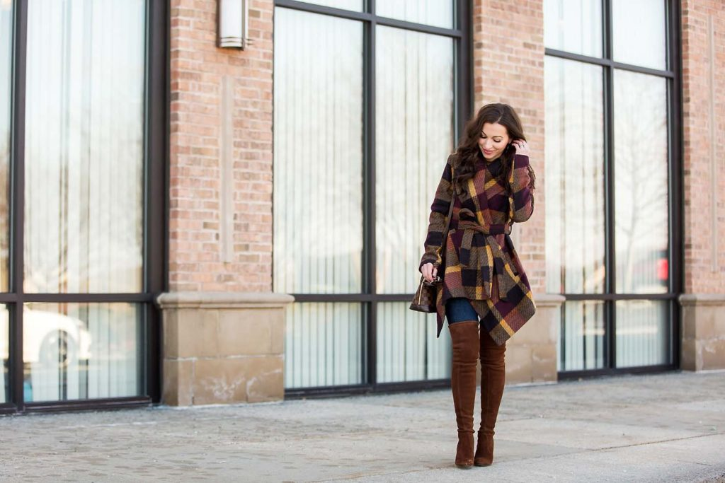 plaid wrap coat Chicwish over the knee boots