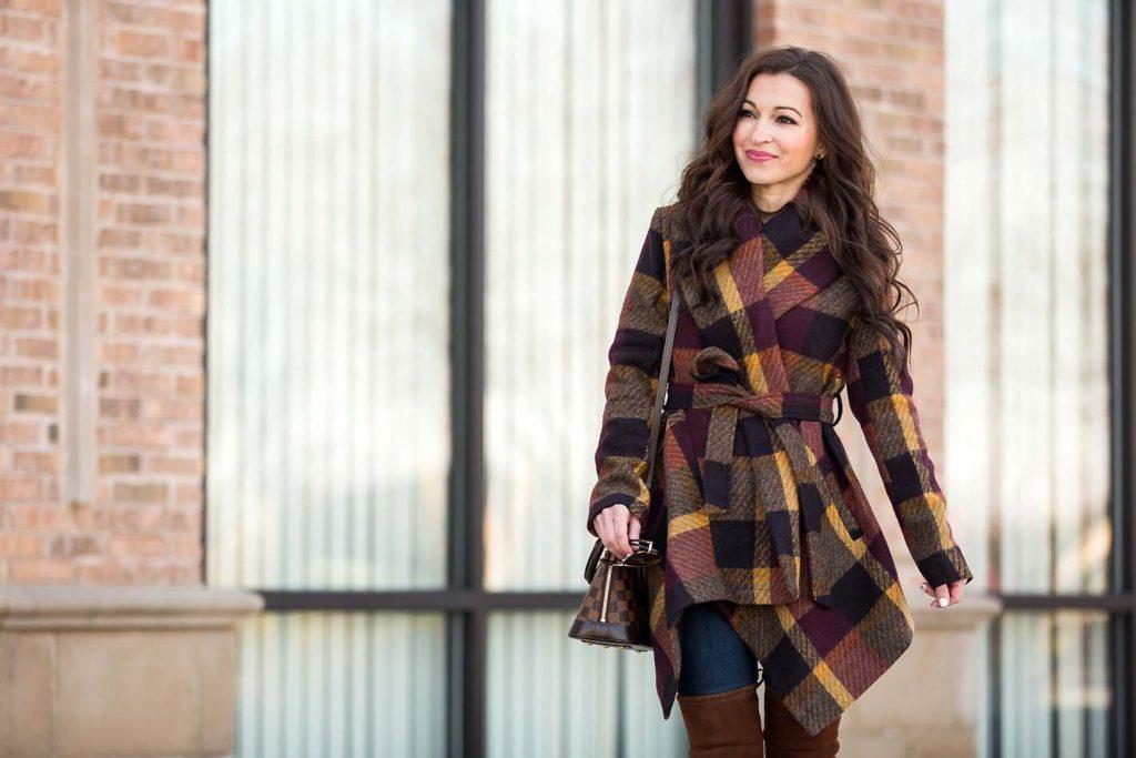 plaid wrap coat Chicwish