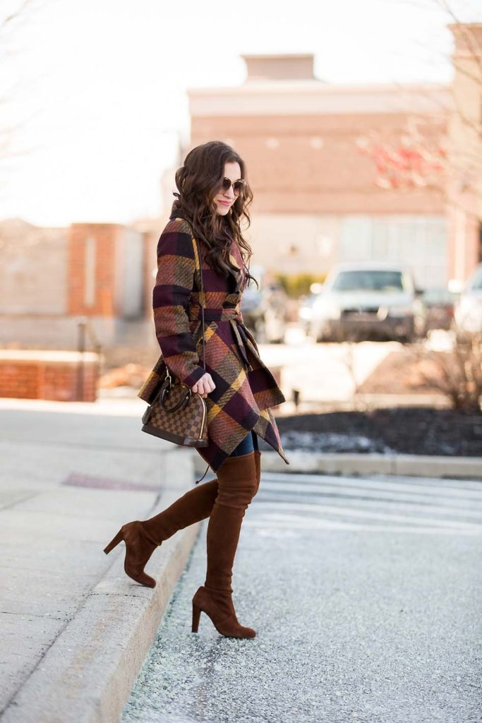 plaid wrap coat Louis Vuitton Alma BB over the knee boots