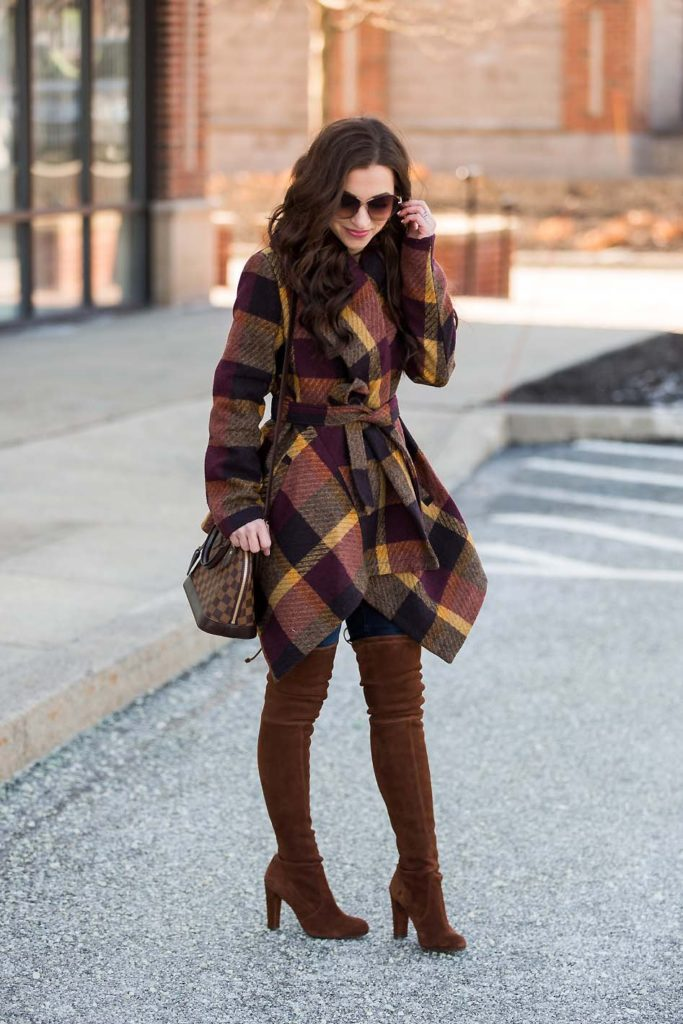 plaid wrap coat suede over the knee boots