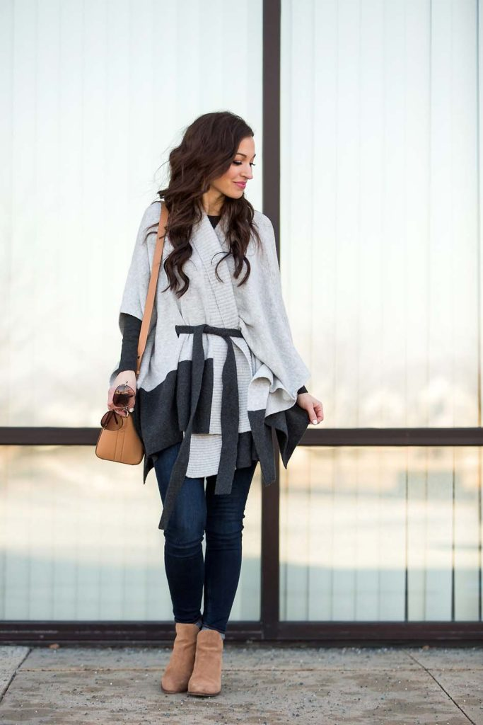 grey belted poncho suede booties Givenchy Antigona