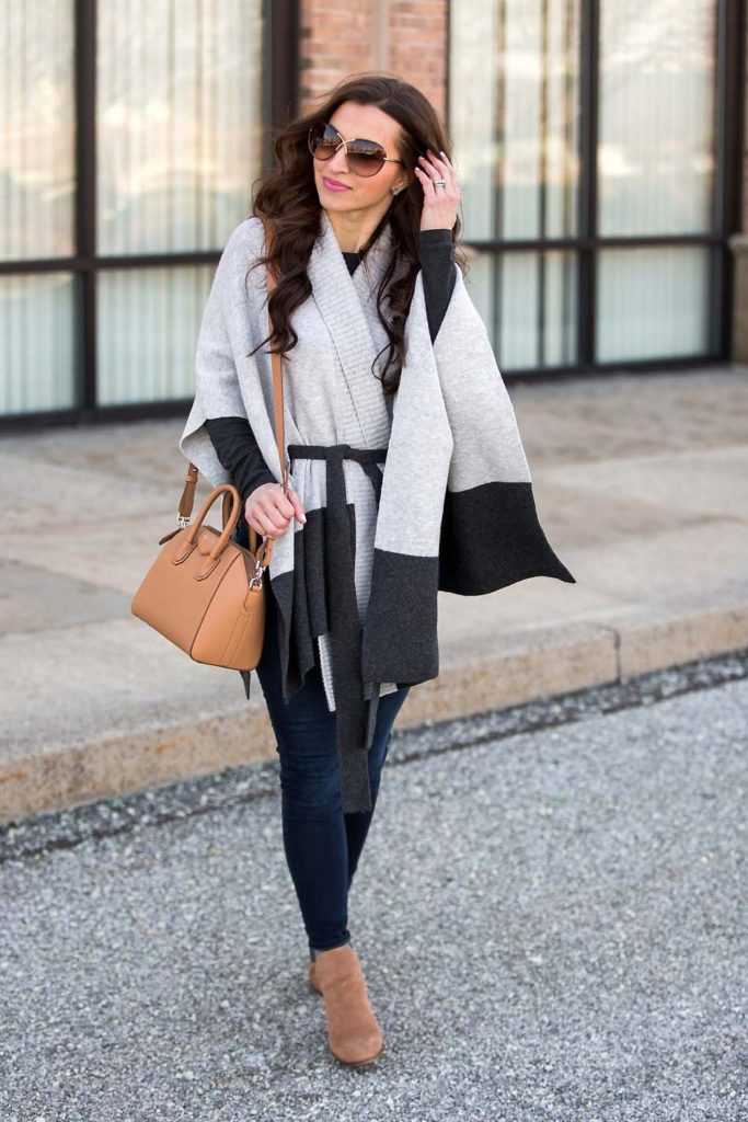grey belted poncho