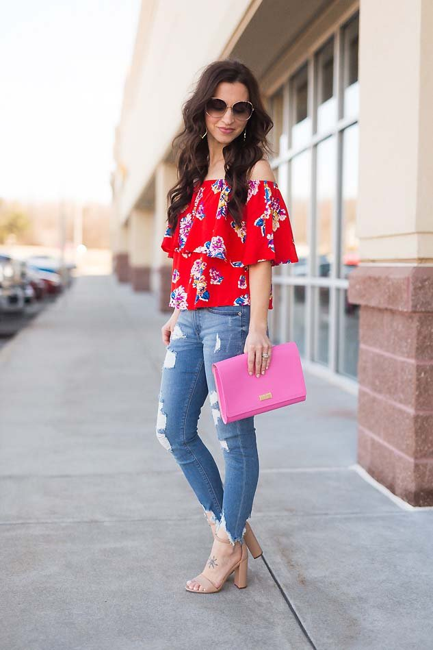 a726aafb04cb2 floral ruffle off shoulder top pink Kate Spade clutch. floral ruffle off  shoulder top ripped Express jeans