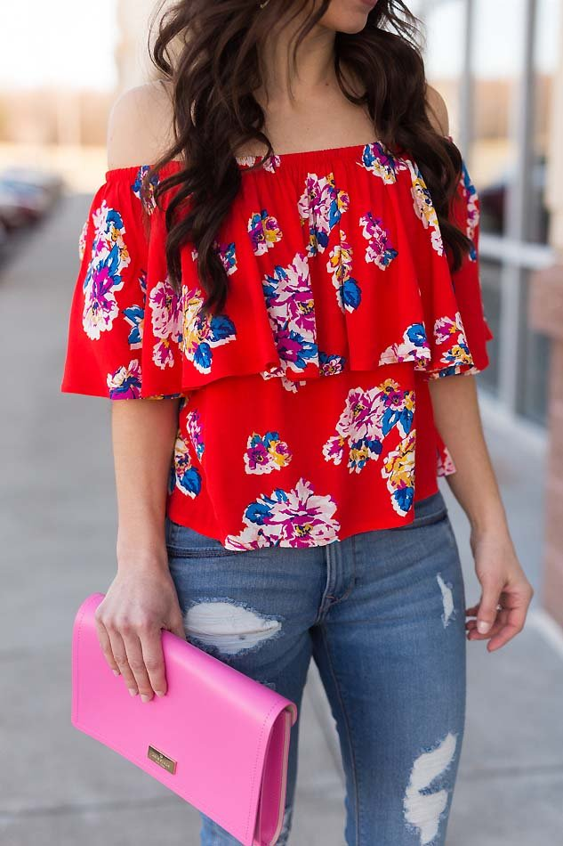 aa58f145136f7 floral ruffle off shoulder top pink kate spade clutch. floral ruffle off  shoulder top ripped jeans