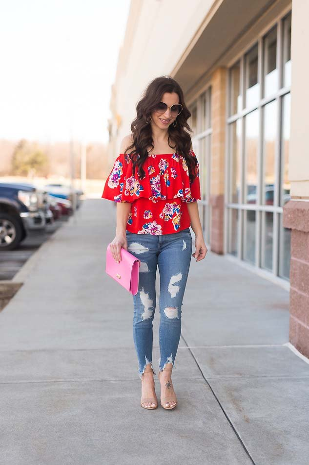 e0bffd1cbaef2 floral ruffle off shoulder top ripped Express jeans