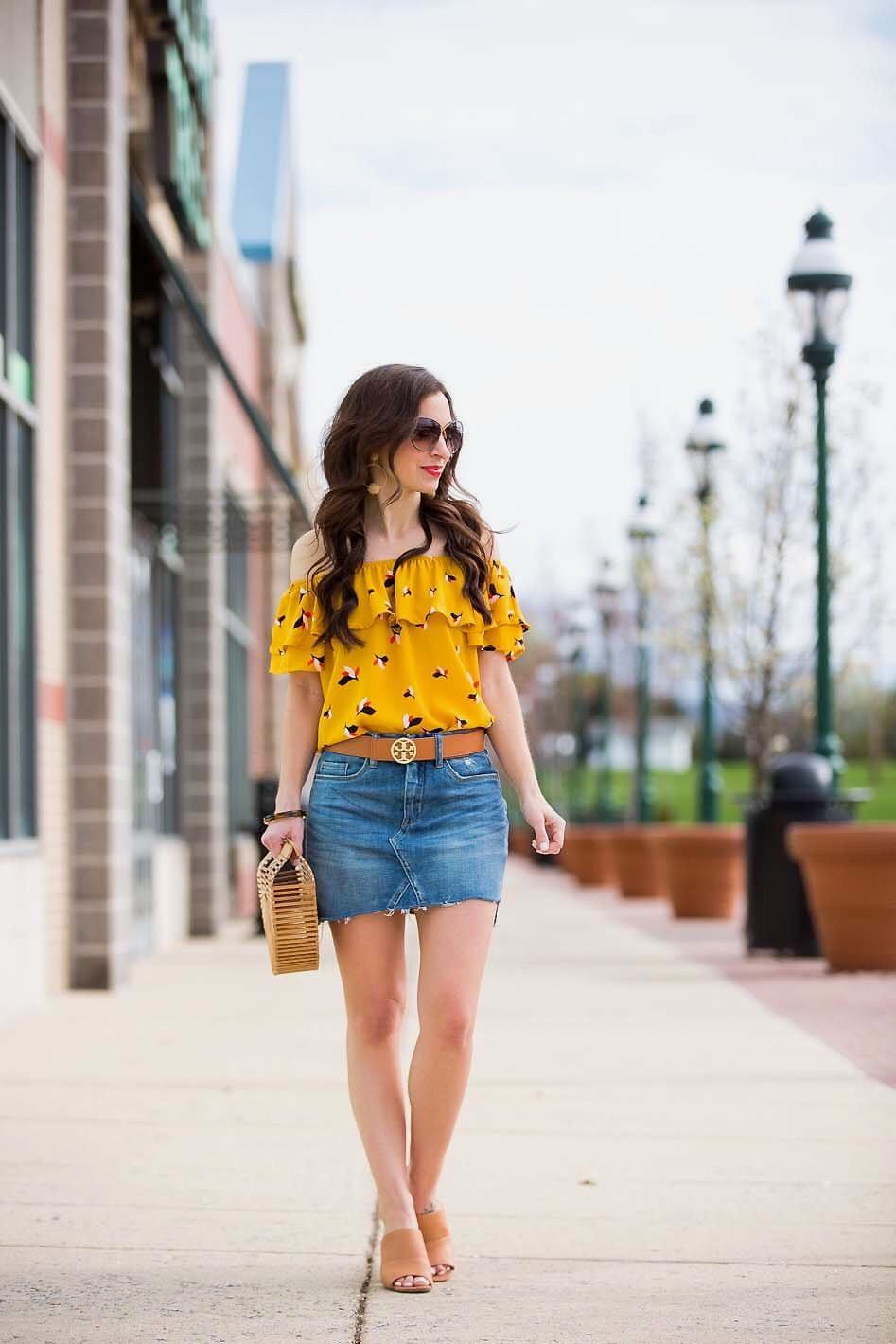 43511d676 Mustard Off Shoulder Top / Denim Skirt - Lipgloss & Labels