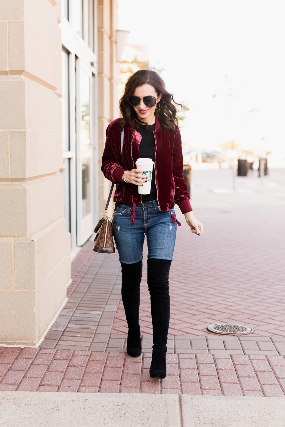 4c75d1c2a6a burgundy velvet bomber black suede over the knee boots Louis Vuitton Alma BB